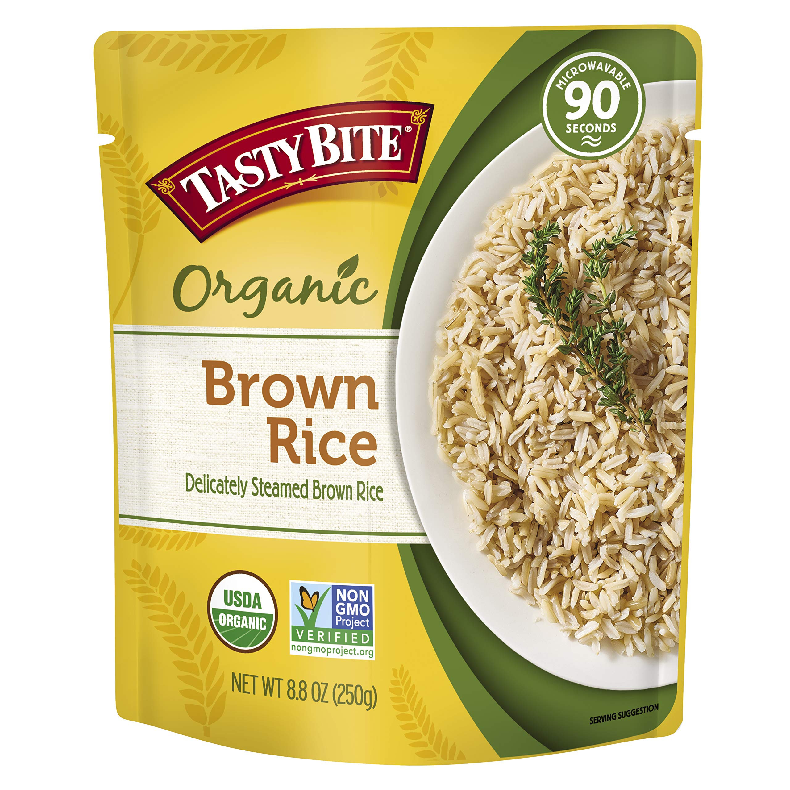Tasty Bite Organic Brown Rice 8.8 Ounce (Pack of 6), Organic Whole Grain Brown Rice, Fully Cooked, Ready to Serve, Microwaveable, Vegan Gluten-Free No Preservatives