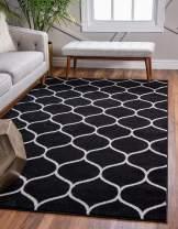 Unique Loom Trellis Frieze Collection Lattice Moroccan Geometric Modern Black Area Rug (10' 0 x 14' 0)