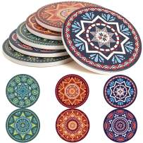 ENKORE Absorbent Coasters For Drinks - 6 Pretty Mandala Patterns on Big Ceramic Stones with Cork Back, Use as Elegant Home Decor and Save Your Furniture From Damage By Water Stain And Marks, No Holder