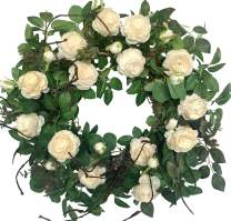 Huashen Artificial Large Cabbage Rose Wreath Cream & White Blossom Flower Ivy Spring Summer Wreath on Grapevine Base for Front Door, Wall, Wedding, Home Decor 24inch