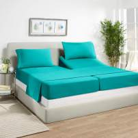 "Empyrean Bedding 14"" - 16"" Deep Pocket Fitted Sheet 5 Piece Set - Super Soft Double Brushed Microfiber Top Sheet - Wrinkle Free 2 Fitted Bed Sheets, 1 Flat Sheet and 2 Pillow Cases - Split King, Teal"