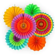 """Adorox Set of 12 Vibrant Bright Colors Hanging Paper Fans Cinco De Mayo Mexican fiesta Southwestern Rosettes Party Decoration for Holidays 8"""" 12"""" 16"""" Various Sizes Fiesta (2 pack)"""