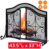 """Fireplace Screen with 2 Doors - Large Flat Spark Guard Fire Screens - Outdoor Metal Decorative Mesh Cover - Baby Safe Proof Wrought Iron Fire Place Panels - Wood Burning Stove Black (43.5"""" L x 33"""" H)"""