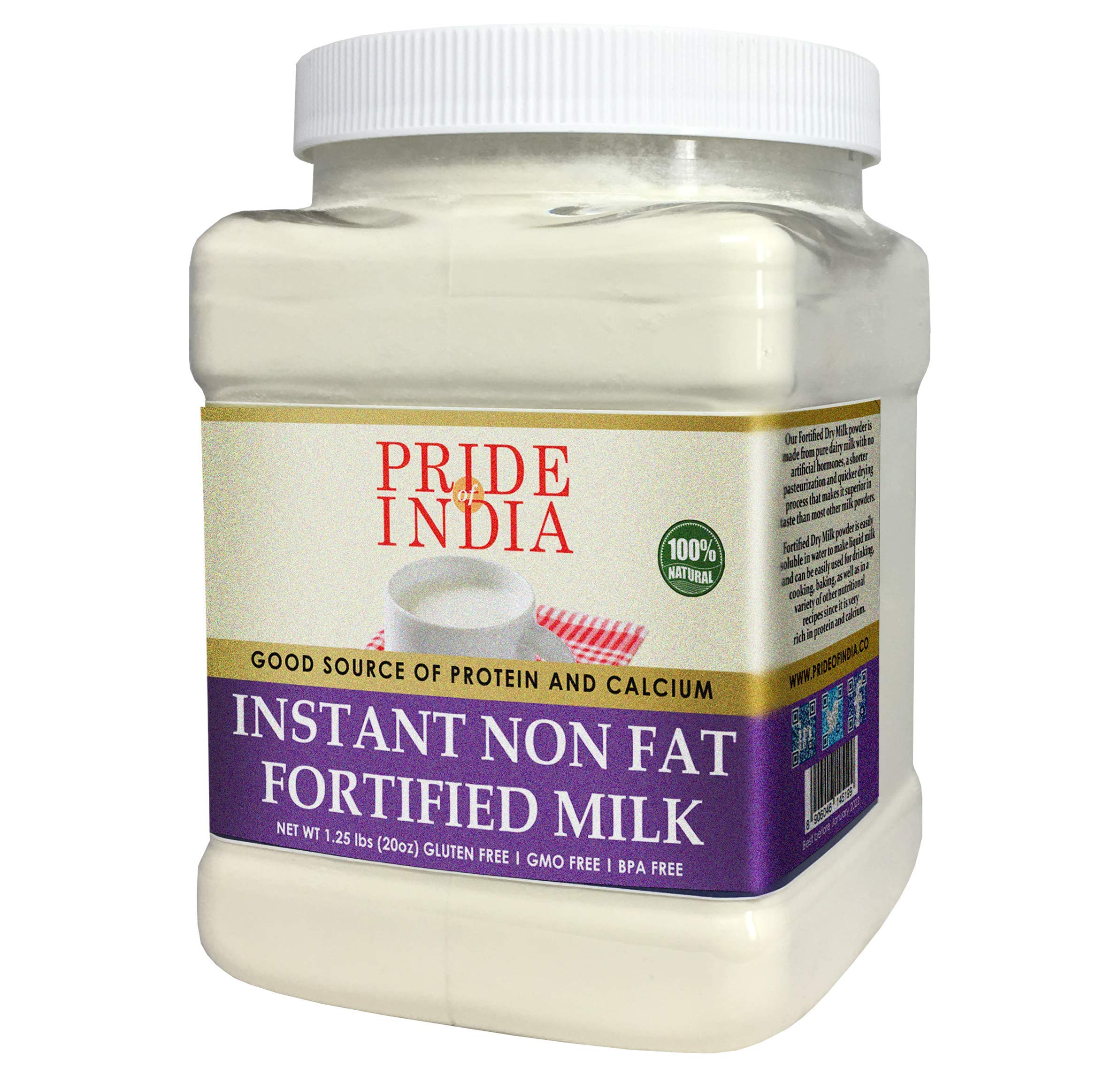 Pride Of India - Instant Fortified Nonfat Dry Milk Powder - Enriched w/ Vitamin D, Protein & Calcium - 1 lbs (16oz) Jar