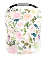 Pobi Baby Premium Multi-Use Cover - Nursing Cover, Baby Car Seat Covers, Shopping Cart, High Chair, and Breastfeeding Cover - Ultra-Soft, Stretchy, and Versatile Floral Scarf for Baby and Mom (Allure)