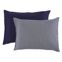 Touched by Nature Unisex Baby and Toddler Organic Cotton Toddler Pillowcase, Navy Heather Gray, One Size