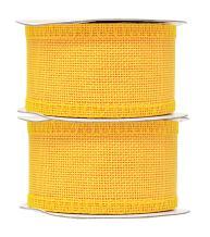 Yellow Burlap Ribbon 2 Inch 2 Rolls 20 Yards Unwired Rustic Jute Ribbon for Crafts, Mason Jars, Weddings, Party Decoration; by Mandala Crafts