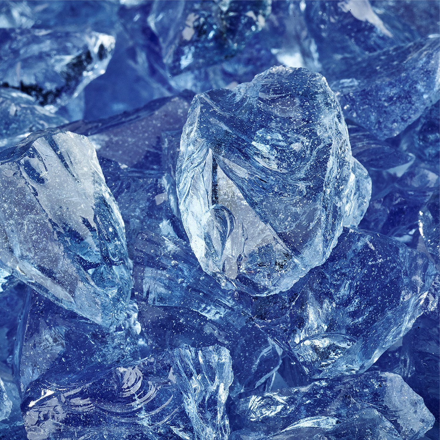 Lake Tahoe Blue - Crushed Fire Glass for Indoor and Outdoor Fire Pits or Fireplaces | 10 Pounds | 1/2 Inch - 3/4 Inch