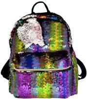 BG-709-MS-MB48 Medium Magic Sequin Backpack - Bright Rainbow/Silver