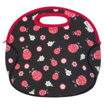 Funkins Insulated School Lunch Bag Tote for Kids - With Interior Pocket and Name Tag, Machine Washable, Easy to Pack, (Large Size) - Ladybugs Black