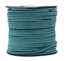 Mandala Crafts 100 Yards 2.65mm Wide Jewelry Making Flat Micro Fiber Lace Faux Suede Leather Cord (Teal)