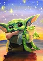 DIY 5D Diamond Painting Kits for Adults&Kids,Baby Yoda Round Full Drill Crystal Rhinestone Diamond Painting Art Kits,Star Wars Diamond Painting,Art Craft Mosaic Painting Home Wall Decor(11.8''×15.7'')