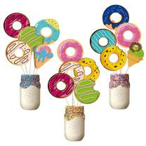BeYumi 30 Pack Donuts Centerpiece Sticks Bobber Table Toppers Cupcake Toppers Donuts Time Party Favors Dessert Themed Party Supplies Birthday Donuts Photo Booth Props Decorations for Kids Girls