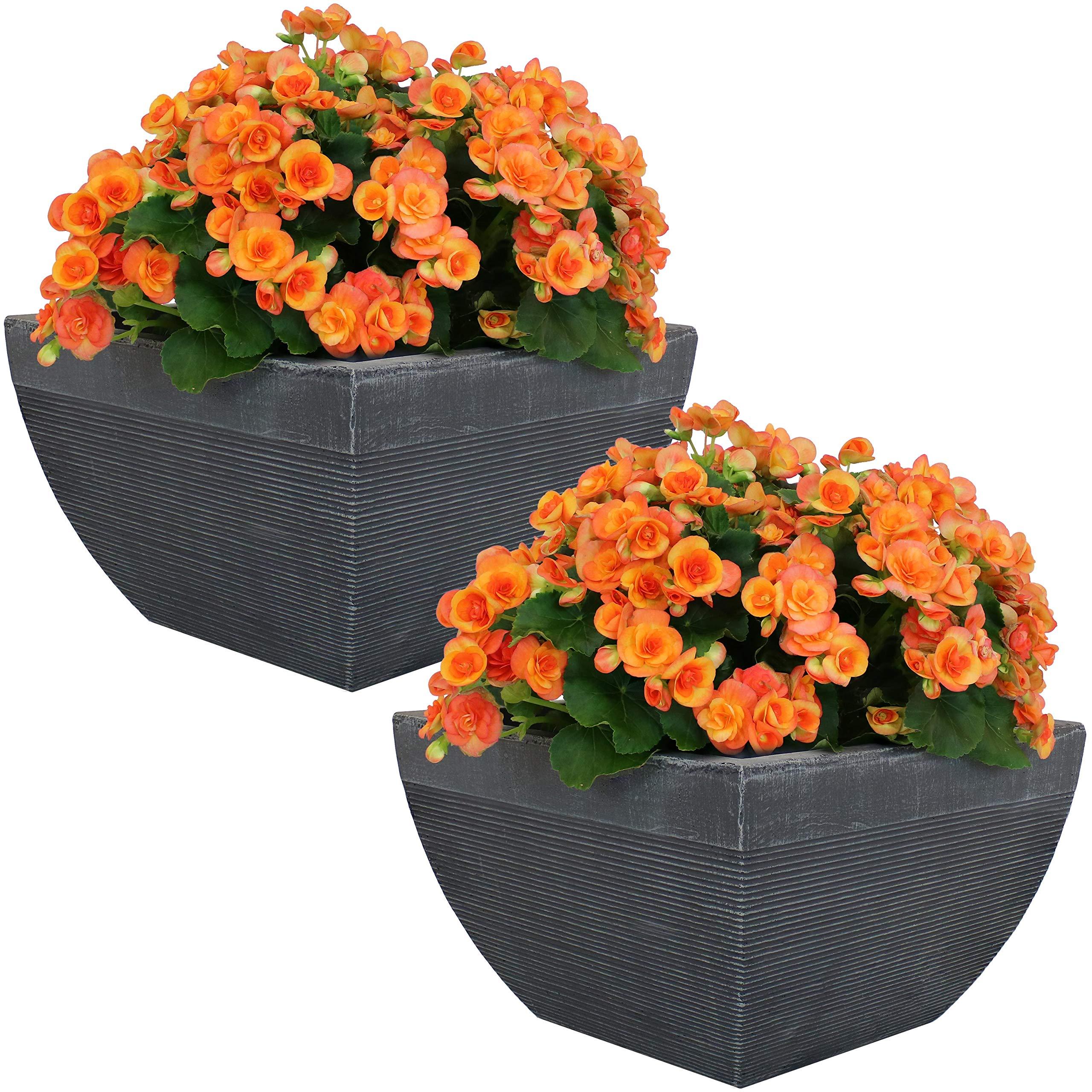 Sunnydaze Residency Fiber Clay Modern Planter Flower Pot, Durable Indoor/Outdoor 14-Inch Set of 2