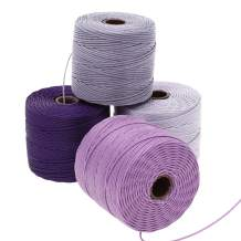 Beadsmith S-Lon #18 Cord, Multipack with 4 Spools (Lilac Mix), Ideal for Stringing Beading Crochet and Micro-macramé Jewelry