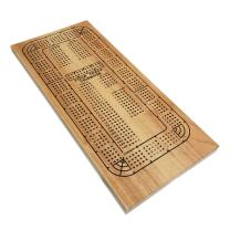 WE Games Classic Wooden Cribbage Board Game with 4 Lanes / Four Track and Plastic Pegs - 16.5 x 8 in.