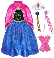 HenzWorld Little Girls Costume Princess Dress Birthday Christmas Party Cosplay Jewelry Accessories Gloves Wig Grips Cape