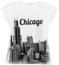 Sweet Gisele Chicago T Shirts for Women | V Neck | Skyline Design w/Rhinestones | Grey or White