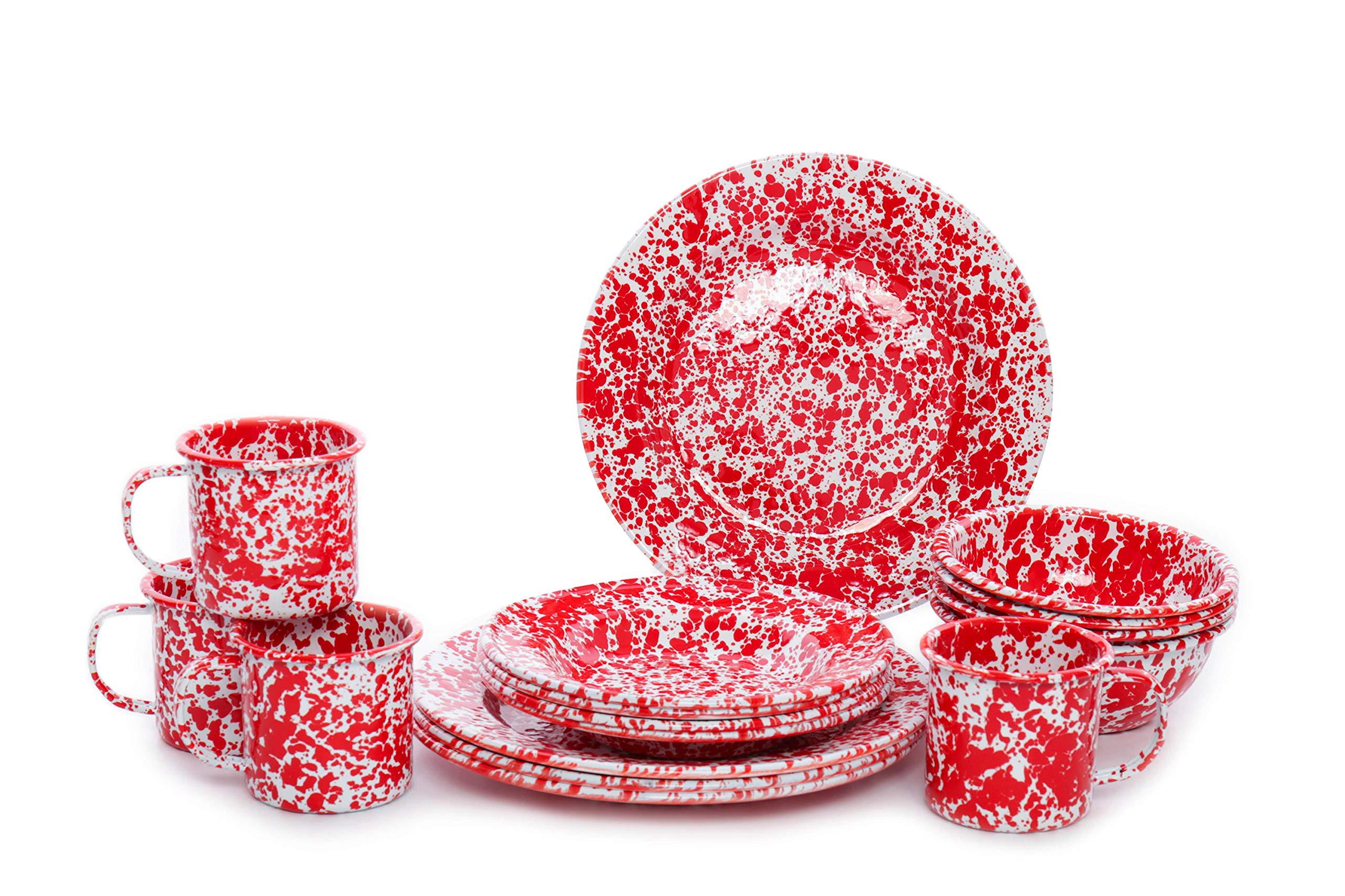 Enamelware Starter Set, 16 piece, Red/White Splatter