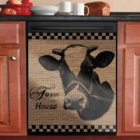 """Dishwasher Cover Magnet Kitchen Decorative,Dish Washer Door Sticker,Refrigerator Door Magnetic Decals Sheet,Home Cabinet Decor Panel Decal (Cow, 23""""W×17""""H)"""