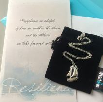 Smiling Wisdom - Resilience Sailboat Gift Set- You Have the Strength to Overcome Adversity - 925 Silver Plated Sailboat - Grief - Pendant Necklace for Her