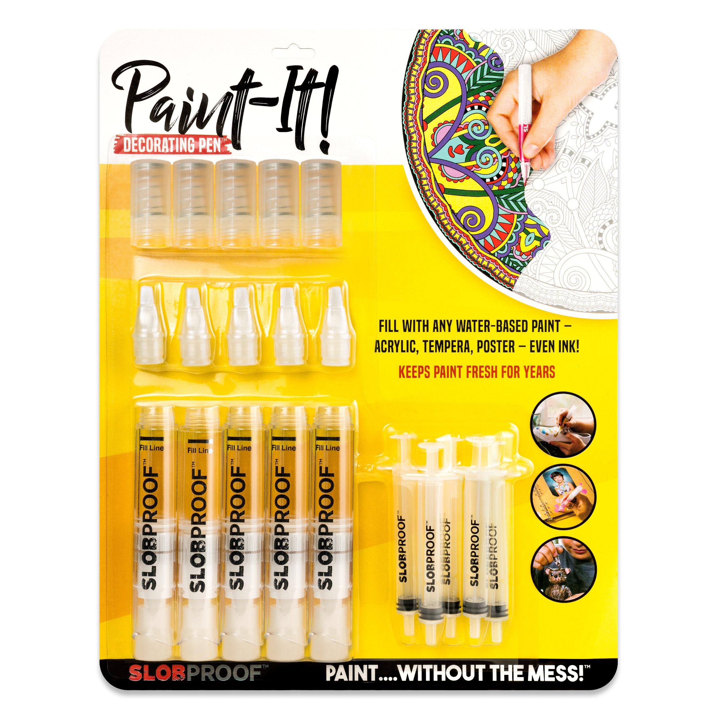 Slobproof Acrylic Paint Pens | Paint Brush Pens FiIll With Any Rock Paint, Canvas Paint, Glass Paint, Ceramic Paint or Glitter Paint | Medium-Point Paint Markers for Rock Painting and Fabric Painting