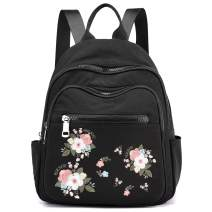 Small Backpacks for women,Mini Nylon Bookbag Purse Casual Lightweight Embroidery Daypack