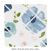 Sweet Jojo Designs Navy Blue and Pink Watercolor Floral Fabric Memory Memo Photo Bulletin Board - Blush, Green and White Shabby Chic Rose Flower