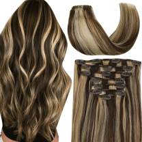Highlighted Clip in Extensions Human Hair 7pcs 100g Brown with Blonde Hair Extensions Clip Ins Natural Double Wefted Straight Clip on Extension 22 Inch