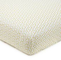 Levtex Home Baby Charlotte Collection Print Fitted Crib Sheet, Gold