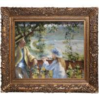 overstockArt Near The Lake Oil Painting with Burgeon Gold Frame by Renoir, Organic Pattern Facade with Gold Finish