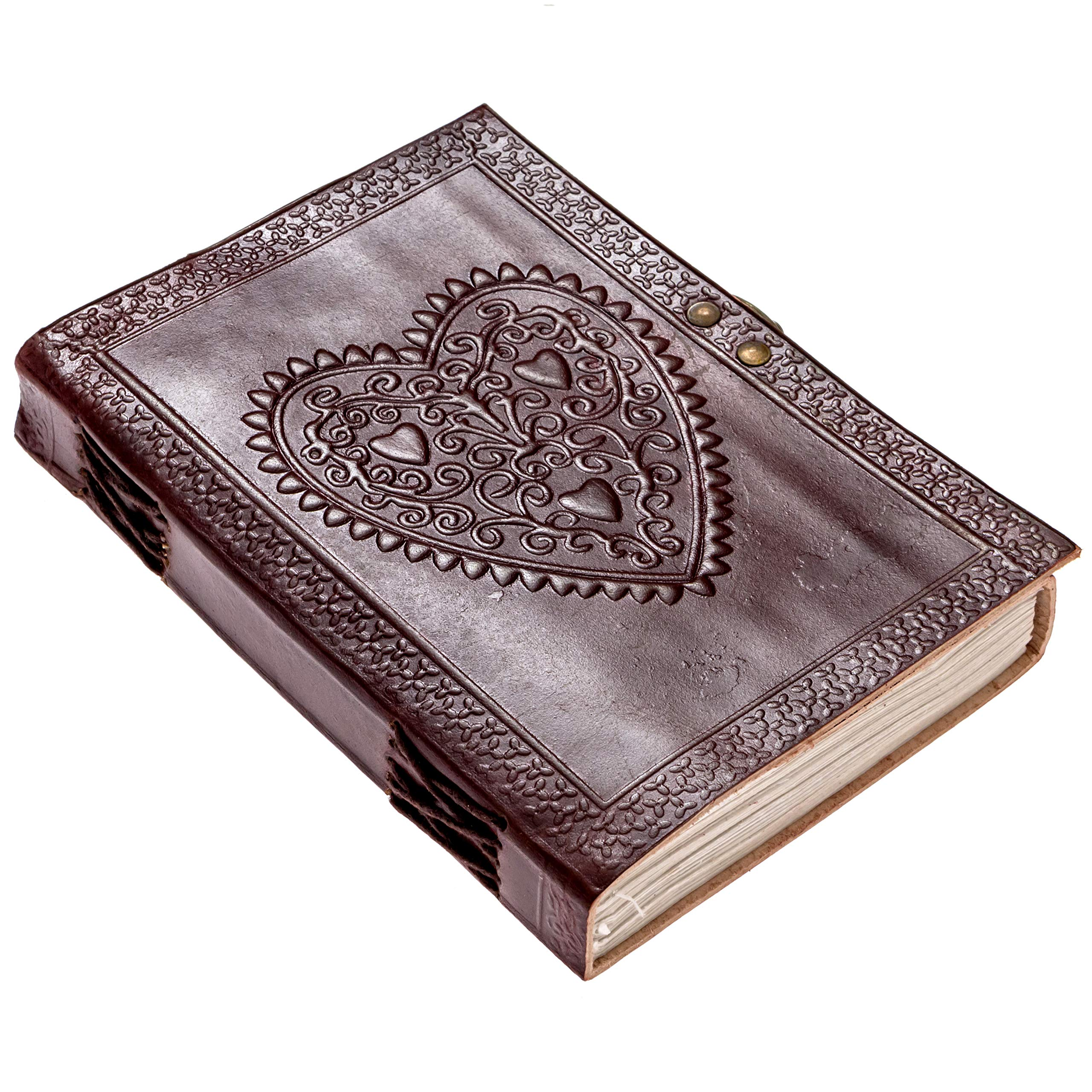 BROWN LEATHER JOURNAL Heart Engraved Handmade Notebook 7x5 Unlined Paper Diary Sketchpad For Men & Women