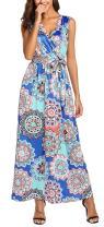 SimpleFun Womens Summer Boho Floral Print Wrap V-Neck Sleeveless Long Maxi Dress with Pockets