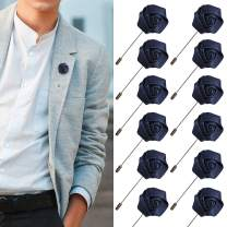 JLIKA Lapel Pins for Men Flower Pin Rose for Wedding Boutonniere Stick Boutineers (Set of 12 PINS) (Navy)