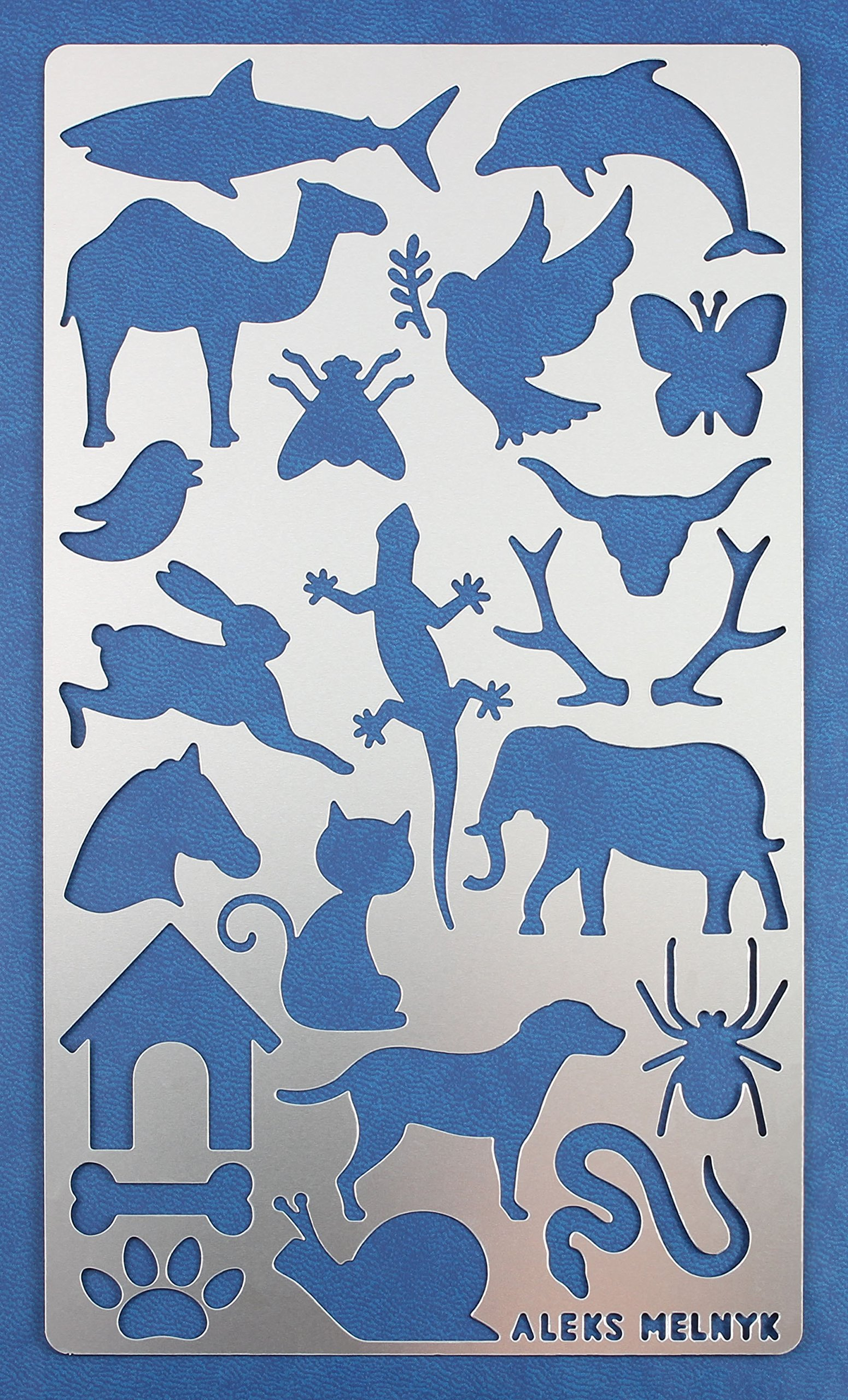 Aleks Melnyk #8 Metal Journal Stencil/Animals/Stainless Steel Stencil 1 PCS/Template Tool for Wood Burning, Pyrography and Engraving/Scrapbooking/Crafting/DIY