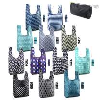 Reusable Shopping Bags Grocery Totes with Pouch 12 Pack 50LBS Foldable Fashion Baggies Geometry Printing Machine Washable Durable Xlarge Lightweight for Shopper Camp Travel Outdoor Home