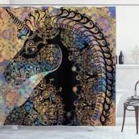 "Ambesonne Unicorn Shower Curtain, Fairytale Unicorn Profile with Circular Mandala Flower Boho Motif Artwork, Cloth Fabric Bathroom Decor Set with Hooks, 84"" Long Extra, Black Lavender"
