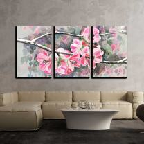 """wall26 - 3 Piece Canvas Wall Art - Original Painting of Flower, Blooming Spring Tree, Watercolor Style, Vector Version - Modern Home Decor Stretched and Framed Ready to Hang - 16""""x24""""x3 Panels"""