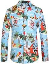 SSLR Men's Santa Claus Party Long Sleeve Hawaiian Ugly Christmas Shirts