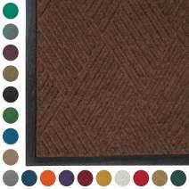 WaterHog Diamond | Commercial-Grade Entrance Mat with Rubber Border – Indoor/Outdoor, Quick Drying, Stain Resistant Door Mat (Dark Brown, 3' x 5')
