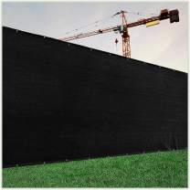 ColourTree Customized Size Fence Screen Privacy Screen Black 4' x 8' - Commercial Grade 170 GSM - Heavy Duty - 3 Years Warranty - Cable Zip Ties Included