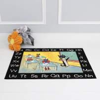 "Home Dynamix Alphabet Pete Rug, 4'11""x6'6"" Rectangle, Black/Yellow"
