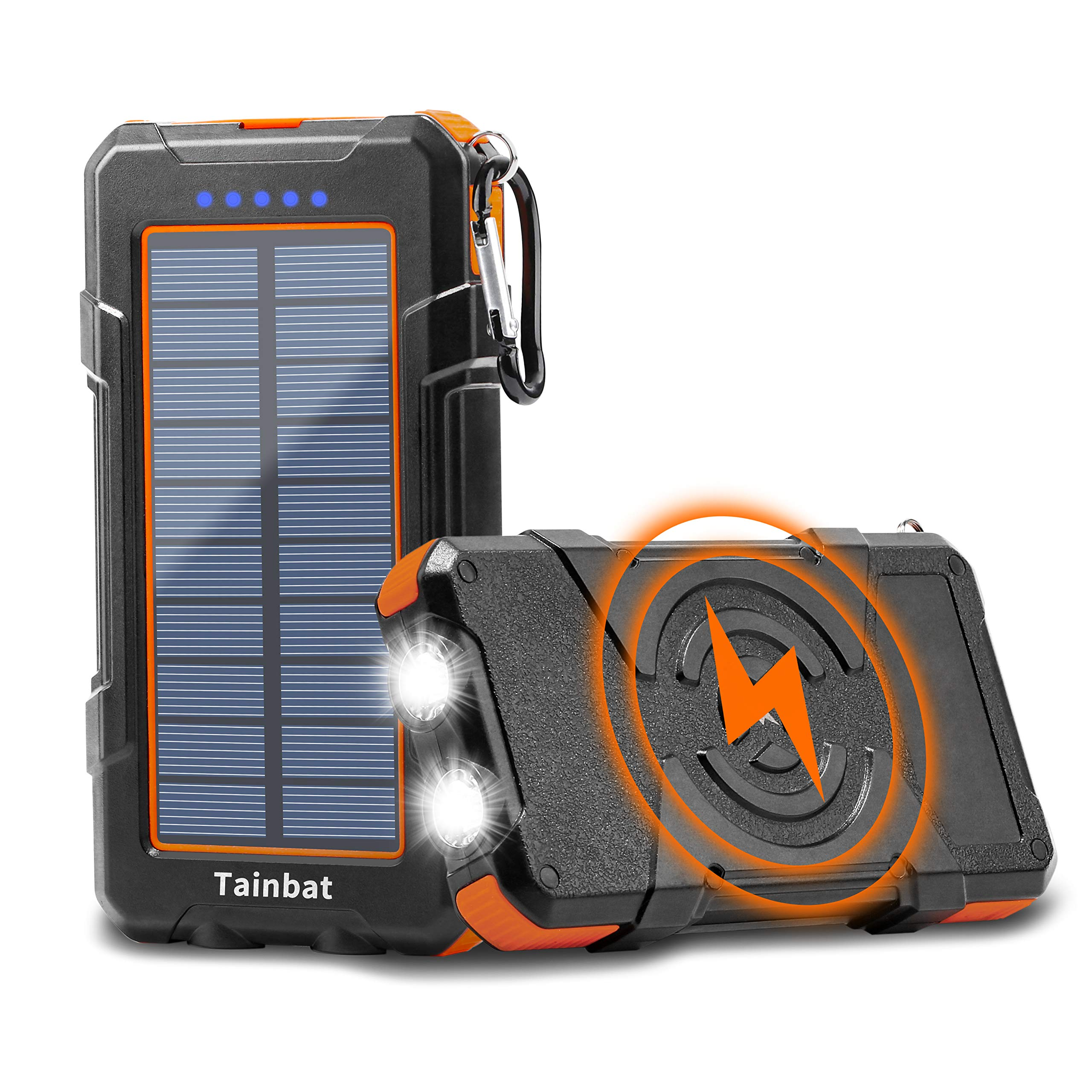 Solar Charger Power Bank, Qi Wireless Solar Phone Charger 10000mAh with Dual USB Output Micro Type C Input Dual Flashlight, Portable External Battery Pack for Camping Outdoor iOS & Android