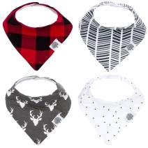 "Parker Baby Bandana Drool Bibs – 4 Pack Baby Bibs for Boys, Girls, Unisex -""Lumberjack Set"""