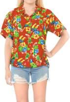 LA LEELA Women Plus Size Summer Tropical Hawaiian Beach Shirt Swimwear Printed B