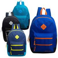 24 Pack - 17 Inch Bulk Backpacks with Dual Front Zipper Pockets (4 Assorted Colors) - Wholesale Case of Bookbags