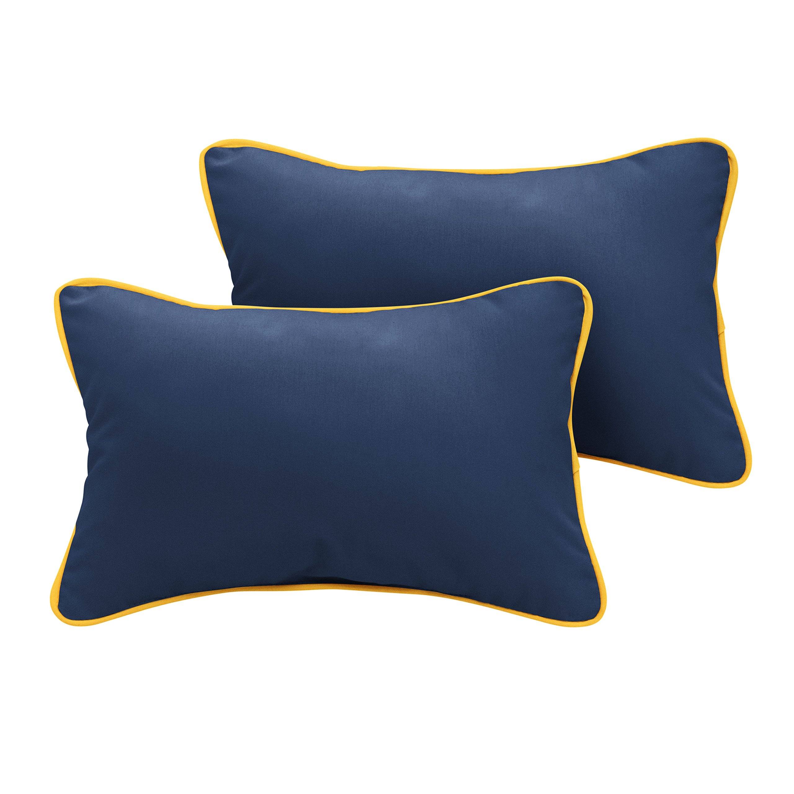 Mozaic Company AMPS111569 Indoor Outdoor Sunbrella Lumbar Pillows with Corded Edges, Set of 2, 18 x 12, Canvas Navy Blue & Sunflower Yellow