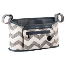 Tickleton Universal Stroller Organizer Grab & Go Chevron │Non-Slip Caddy Bag with 2 Cup Holders and Many Pockets │Practical Compact Sleek Design Accessory │ Fits All Strollers with Adjustable Straps
