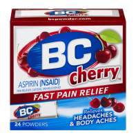 BC Powder | Fast Pain Relief | Aspirin (NSAID) & Caffeine | Cherry | 24 CT | 2 Pack