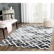 Safavieh Dip Dye Collection DDY677J Handmade Geometric Watercolor Graphite and Ivory Wool Area Rug (4' x 6')